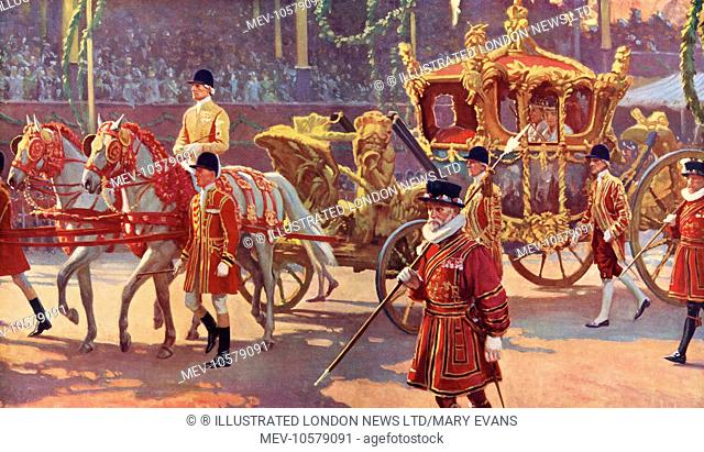 First sight of King George VI and his consort, Queen Elizabeth after they had left Westminster Abbey for the processional drive back to Buckingham Palace