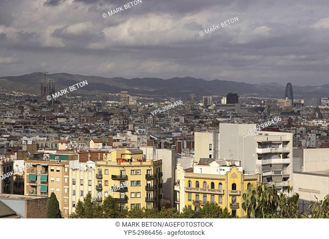 Barcelona cityscape view from Montjuic. Spain