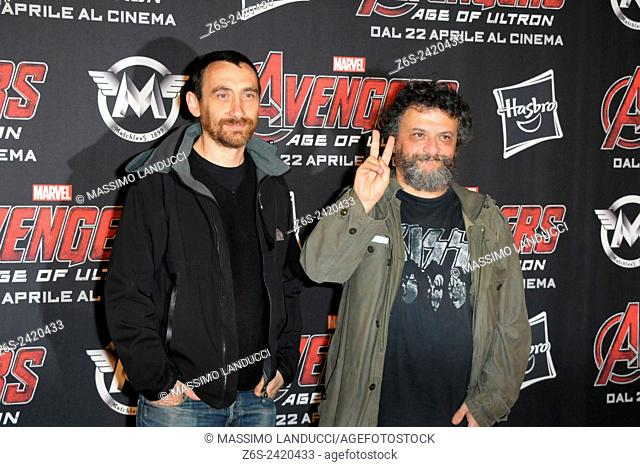manetti bros; manetti; directors ; celebrities; 2015;rome; italy;event; red carpet ; avengers, age of ultron