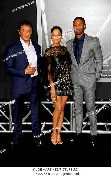 Sylvester Stallone, Tessa Thompson and Michael B. Jordan at the Los Angeles World Premiere of Creed held at the Regency Village Theater in Westwood, CA