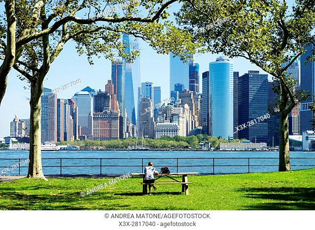 View of Battery Park and the Manhattan skyline from Governorâ. . s island. New York city. USA