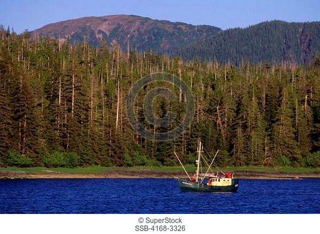 Usa, Alaska, Inside Passage, Near Sitka, Baranof Island, Fishing Boat