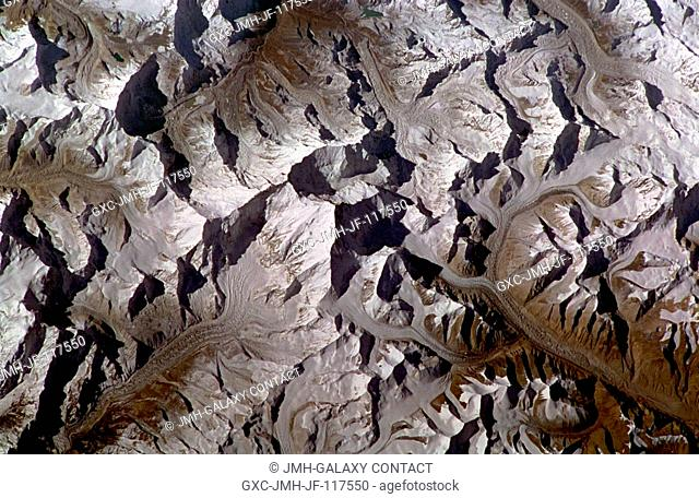 Mount Everest, Tibet and Nepal November 1994. This spectacular, south-looking, low-oblique photograph shows the highest mountain in the world