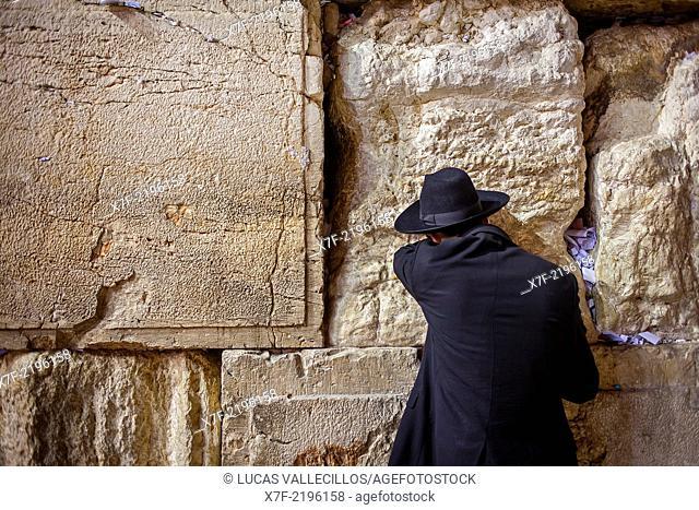 men's prayer area, man praying at the Western Wall, Wailing Wall, Jewish Quarter, Old City, Jerusalem, Israel