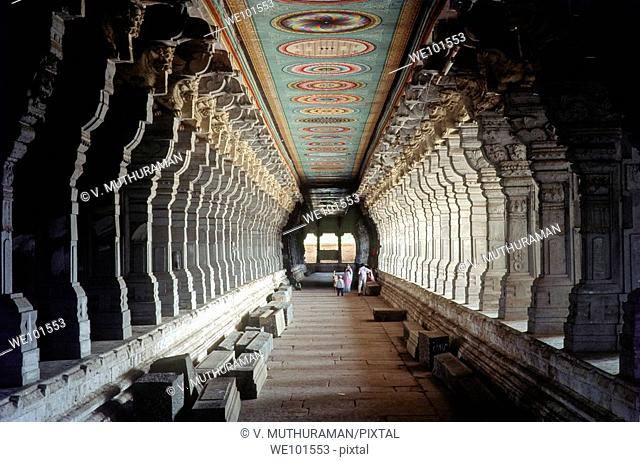 Ramanathaswamy temple's corridor in Rameswaram, Tamil Nadu  The longest temple corridor646 feet long in India