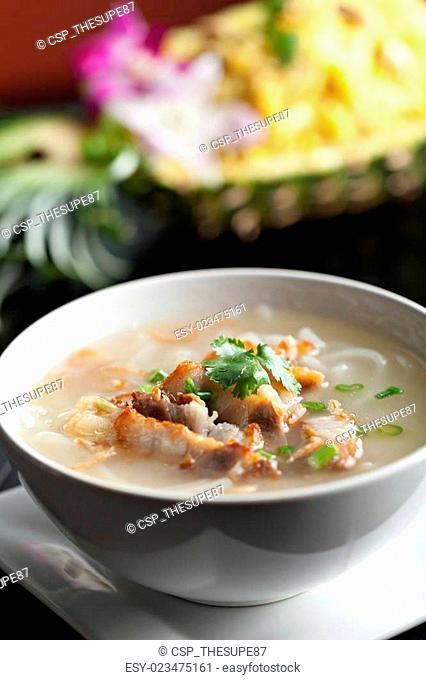 Thai Noodle Soup with Crispy Pork