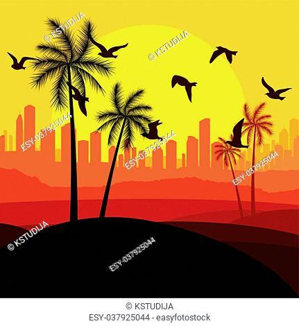 City landscape illustration for poster
