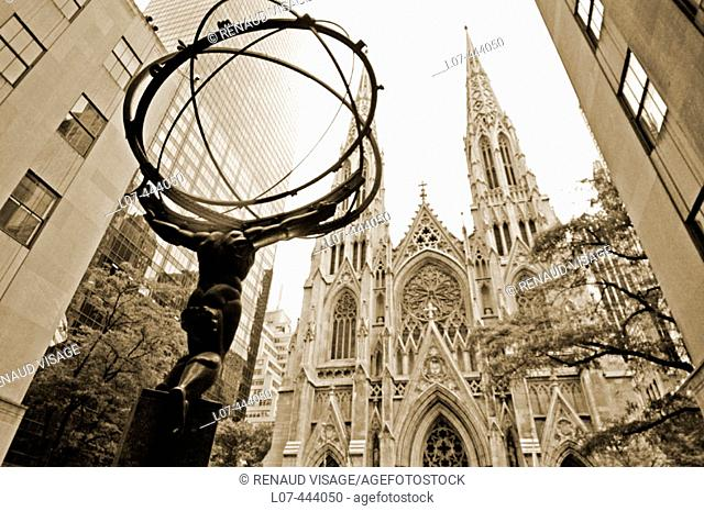 Atlas and St. Patrick's Cathedral at Rockefeller Center. New York City. New York. United States