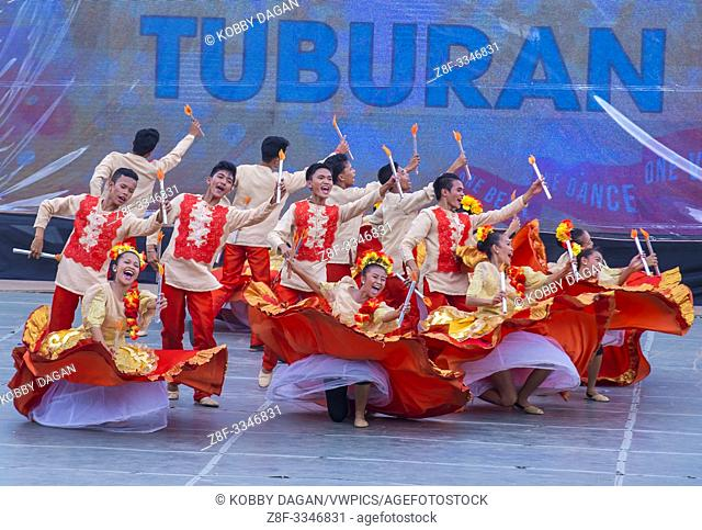 Participants in the Sinulog festival in Cebu city Philippines on January 21 2018. The Sinulog is the centre of the Santo Niño Catholic celebrations in the...