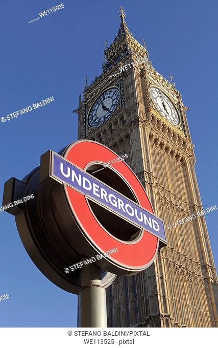 Big Ben and london underground sign, London, England