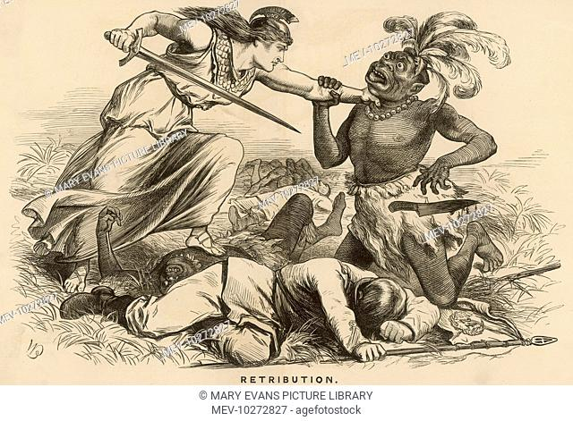 Retribution : Britannia seizes the Zulu chief Cetewayo round the neck , in a landscape dominated by the dead bodies of both British soldiers and Zulus