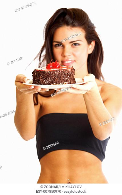 woman hold cake in hands isolated on white