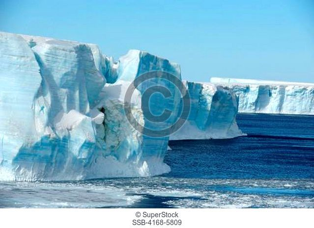 ANTARCTICA, WEDDELL SEA, TABULAR ICEBERG AND PACK ICE
