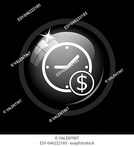 Time is money icon. Internet button on black background