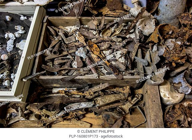 WWI findings at the Romagne '14 '18, First World War One museum at Romagne-sous-Montfaucon, Lorraine, France