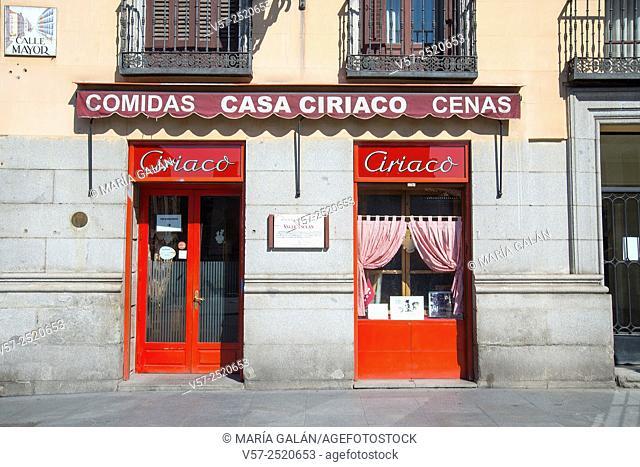 Facade of Casa Ciriaco restaurant. Mayor Street, Madrid, Spain