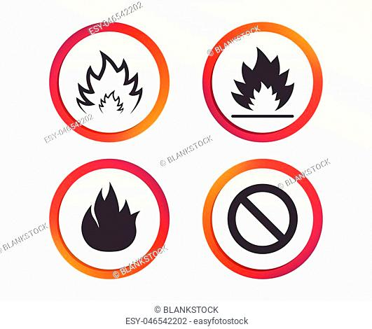 Fire flame icons. Prohibition stop sign symbol. Infographic design buttons. Circle templates. Vector