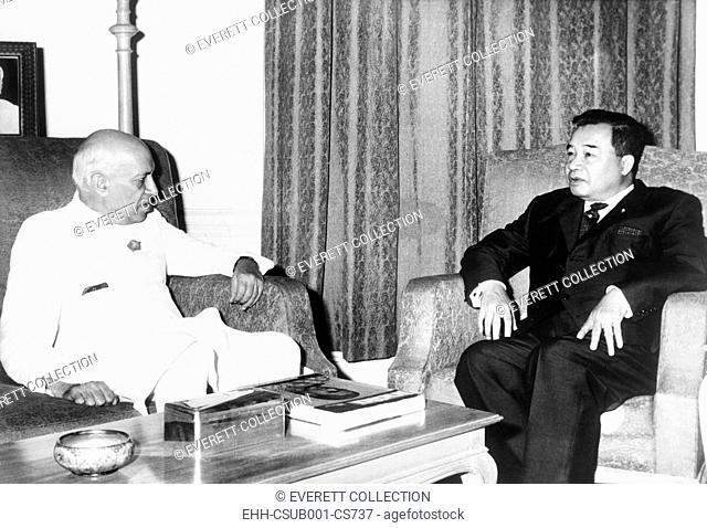 Prince Souvanna Phouma (right), Prime Minister of Laos, met with Indian Premier Jawaharlal Nehru. November 5, 1963. The Neutralist Souvanna Phouma was Prime...