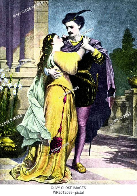 This 1907 illustration shows the star-crossed lovers Romeo and Juliet, the leads characters in a play by the same name written by English playwright William...