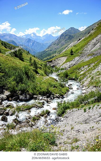 Valley Ferrand with his river, Oisans, France