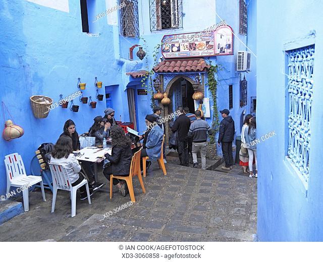 outdoor restaurant in the blue medina, Chefchaouen, Morocco