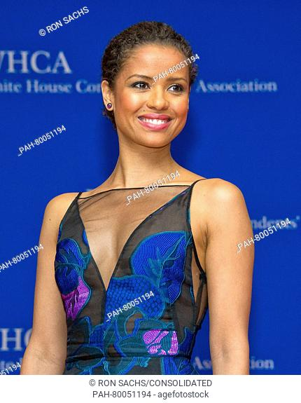 Actress Gugu Mbatha-Raw arrives for the 2016 the White House Correspondents' Association annual dinner at the Washington Hilton hotel in Washington, DC, USA