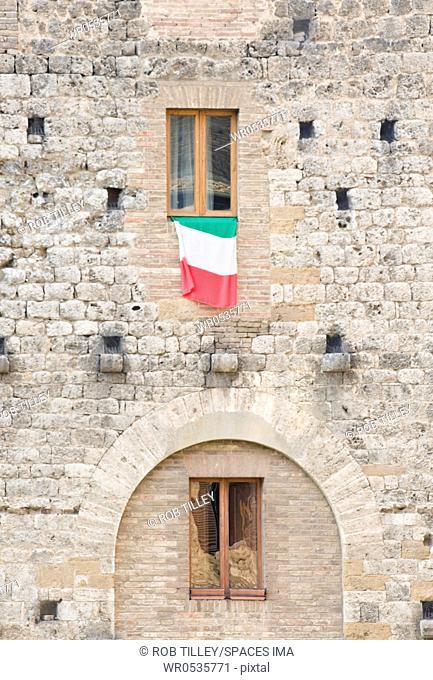Italian Flag Flying on a Medieval Building