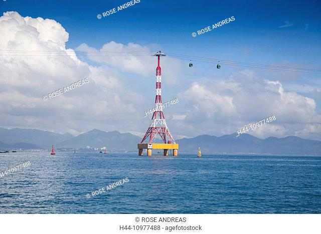 Vinpearl, island, Nha, Trang, South Vietnam, architecture, water, gondola, aerial, cable railway, transportation, Vietnam, Asia