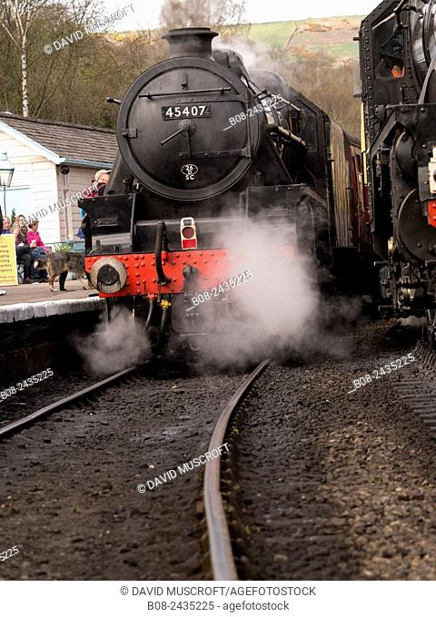 vintage steam locomotive 45407 The Lancashire Fusilier at Grosmont station,on The North Yorkshire Moors Railway,Yorkshire,UK