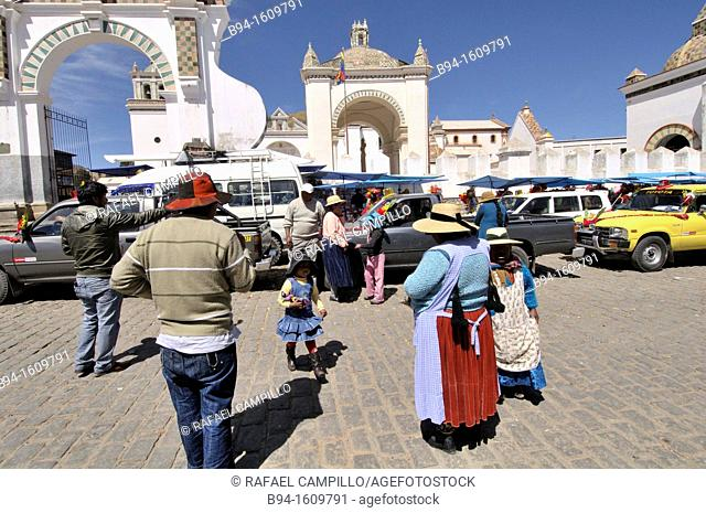 Basilica of Our Lady of Copacabana. Copacabana is the main Bolivian town on the shore of Lake Titicaca.  Our Lady of Copacabana is the patron saint of Bolivia