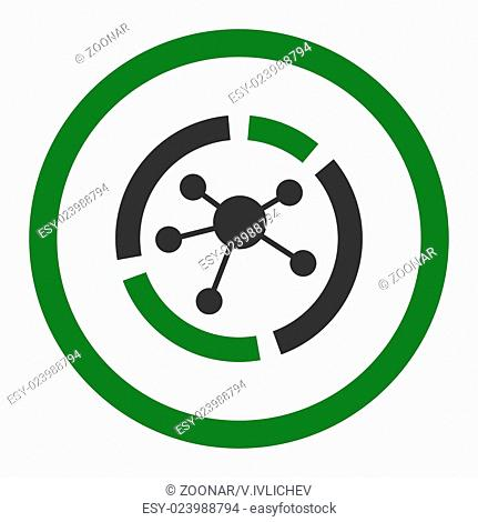 Connections diagram flat green and gray colors rounded glyph icon