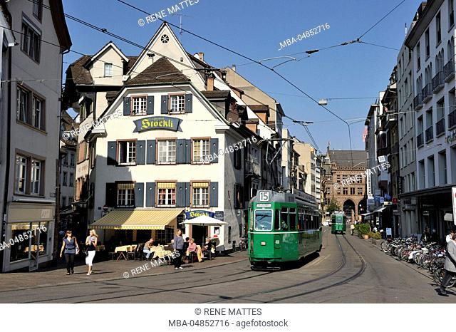 Switzerland, Basel, tram stop on Barfüsserplatz (Barefoot square)