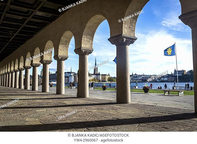 Stockholm City Hall portico and Riddarholmen church in the background, Stockholm, Sweden
