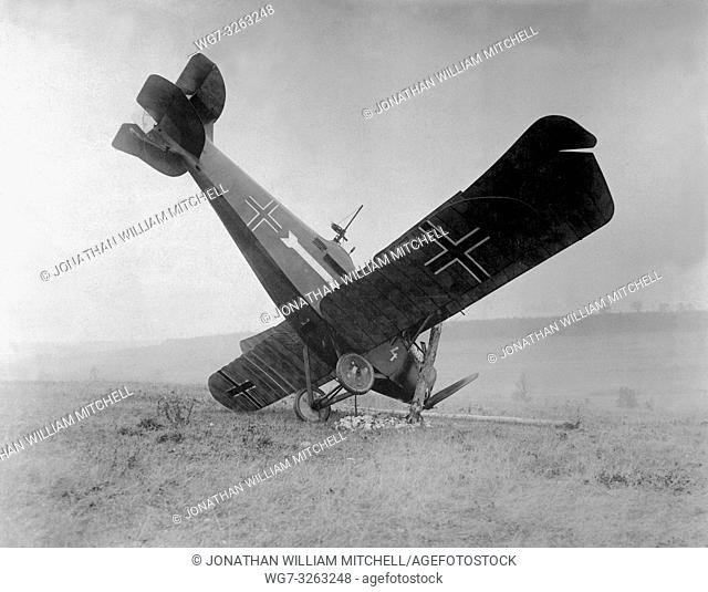 FRANCE -- 04 Oct 1918 -- A German biplane C. L. III A 3892/18 brought down in the Argonne by American machine gunners, between Montfaucon and Cierges
