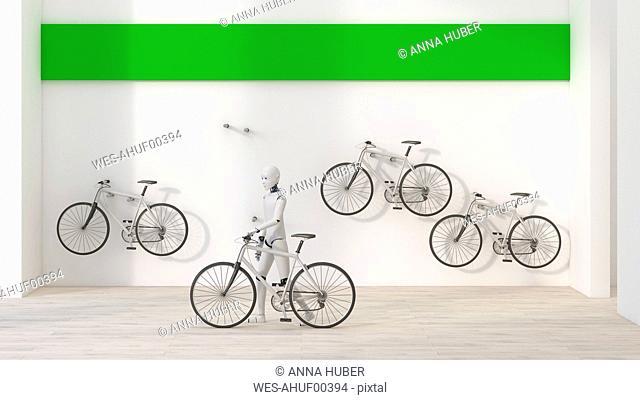 Robot renting a bike, 3d rendering
