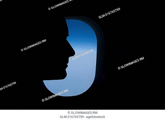 Close-up of a passenger in an airplane