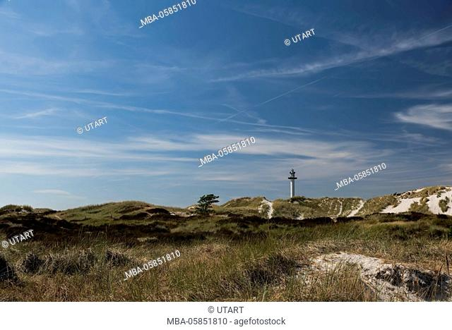 Lighthouse on Bornholm, Denmark, Dueodde Fyr, view about the dunes and Sand to the lighthouse in the horizon, nice summer day with blue heaven and cloud...