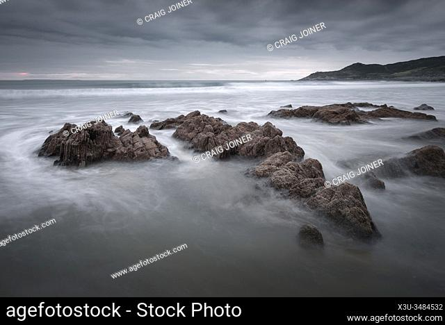 Combesgate Beach and Morte Point on the North Devon coast at Woolacombe, England