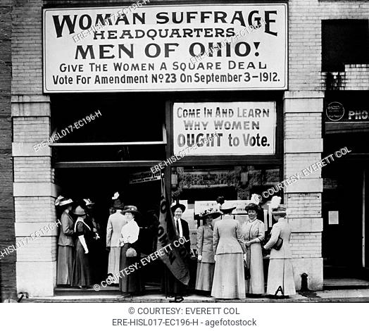 Woman Suffrage Headquarters in Cleveland, Ohio. Miss Belle Sherwin, President, National League of Women Voters is at extreme left labeled A, Judge Florence E