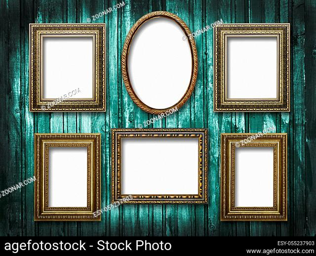 illustration of six picture frames on a wooden background grunge