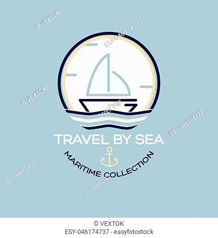 Summer Travel Design - Sail Boat. Maritime collection illustration