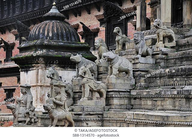 The view of Siddhilakshmi Shikhara Temple in Durbar Square  UNESCO world heritage site