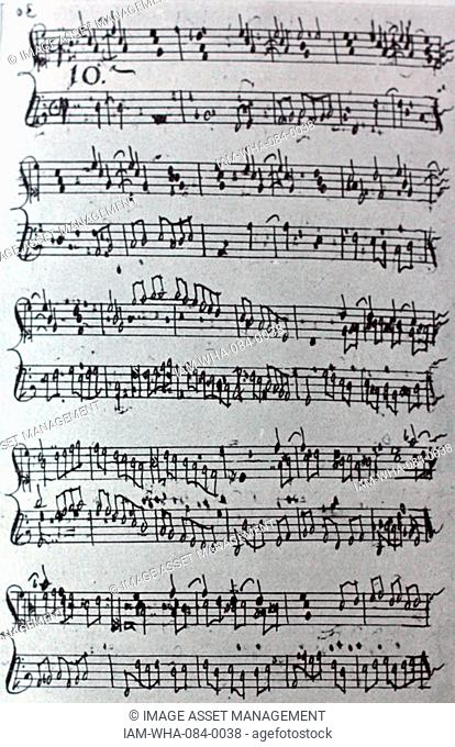 Handwritten sheet music by Antonio Martín y Coll, a Spanish Franciscan friar and composer. Dated 18th Century