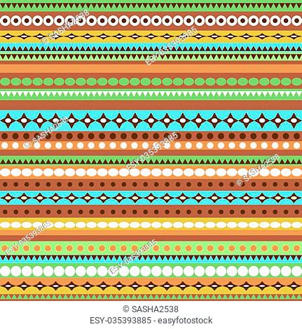 Colorful ethnic seamless pattern design with strips. Vector illustration