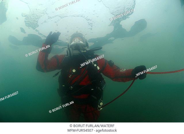 Ice Diving with Fullface Mask, Krog, Murska Sobota, Slovenia