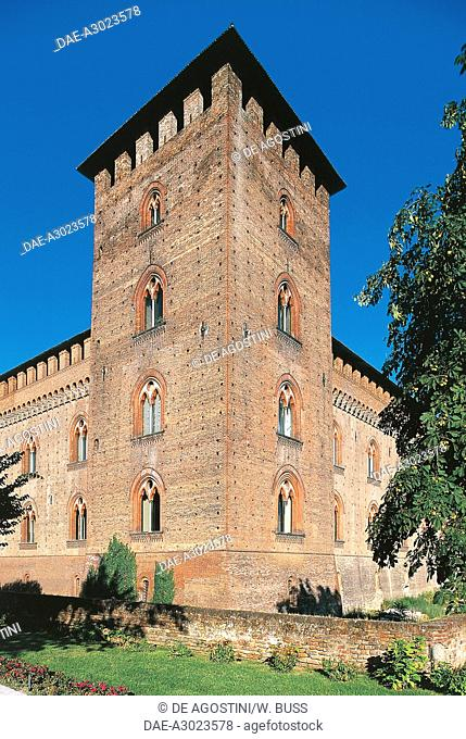 Corner tower of Visconti Castle, built between 1360 and 1365 and commissioned by Galeazzo II Visconti, Pavia, Lombardy, Italy