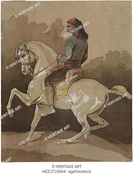 Arab on Horseback, 1800s. Creator: Horace Vernet (French, 1789-1863)