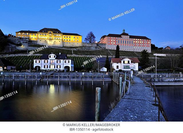 View from the pier to the administrative building of the State Winery and the New Castle, Meersburg, Lake Constance district, Baden-Wuerttemberg, Germany