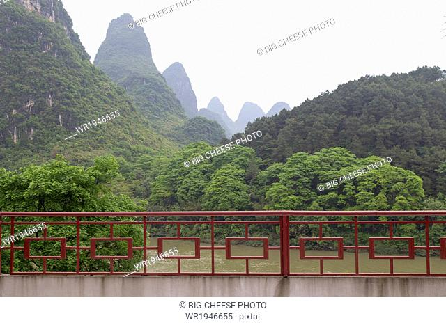 Patio overlooking the Karst mountains and Li River, Yangshuo, China