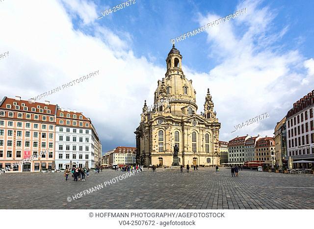 The reconstructed Dresden Frauenkirche (Dresdner Frauenkirche) in Dresden, Saxony, Germany, Europe